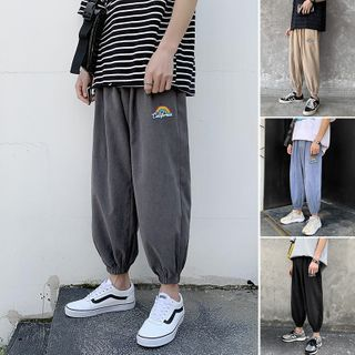 8th Sense - High-Waist Rainbow Embroidered Loose Fit Cuff Pants