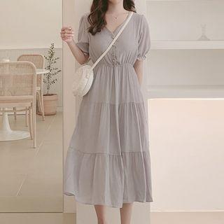 Leoom - V-Neck Short-Sleeve Midi  A-Line Dress