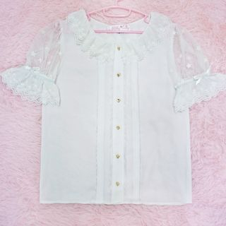 Tomoyo - Short-Sleeve Sheer Shirt