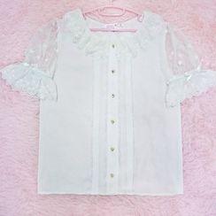Tomoyo - 短袖薄紗襯衫