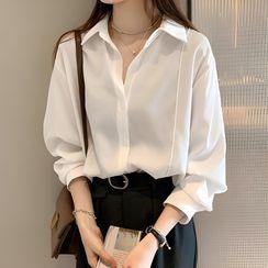 Happo(ハッポー) - Long-Sleeve Plain Shirt