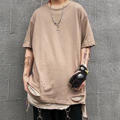 Banash - Elbow-Sleeve Ripped T-Shirt