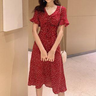 Julirine - Short-Sleeve Dotted Midi Dress