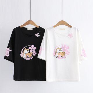Cat Planet - Short-Sleeve Dog Print T-Shirt