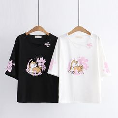 Cat Planet(キャットプラネット) - Short-Sleeve Dog Print T-Shirt