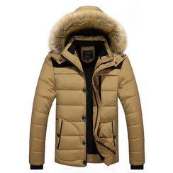 Ninine - Furry Hood Padded Zip Jacket