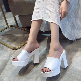 Wello - Platform Block Heel Slide Sandals