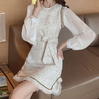 Termane - Set: Long-Sleeve Chiffon Top + Mini A-Line Tweed Pinafore Dress
