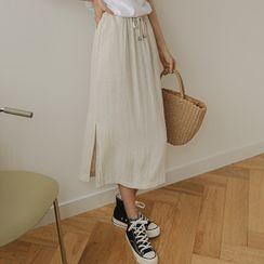JUSTONE - Drawstring Textured Long Skirt