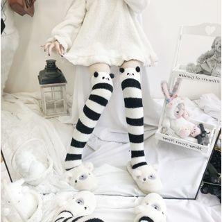 laceyleft - Animal Printed Fleece Over-the-Knee Socks