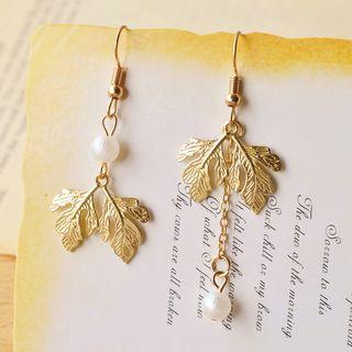 Nisen - Leaf & Faux-Pearl Non-Matching Earrings