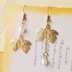 Nisen - Leaf & Faux-Pearl Non-Matching Earrings