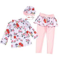 Aqua Wave - Kids Set: Flower Print Rash Guard + Inset Skirt Swim Tights + Swim Bonnet