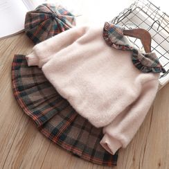 Mini Bae - Kids Set: Furry Sweater + Plaid Skirt + Beret