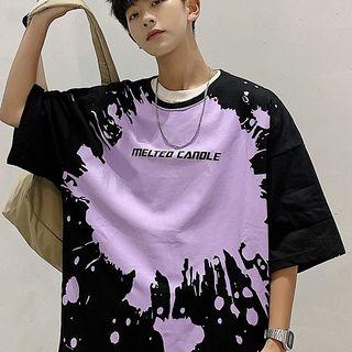 CooLook - Elbow-Sleeve Splash Print T-Shirt