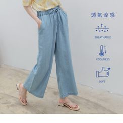 OrangeBear - Drawstring Waist Plain Wide-Leg Pants