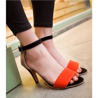 Freesia - Color Panel Ankle Strap Heel Sandals
