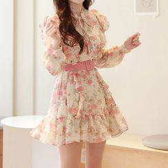 MyFiona - Tie-Neck Frilled Floral Chiffon Dress with Belt