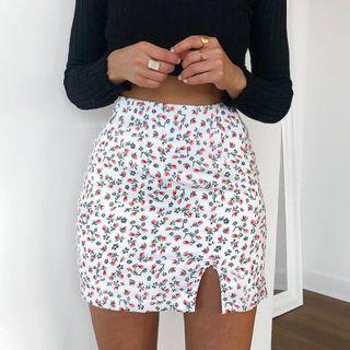 Puffie - Floral Mini Pencil Skirt