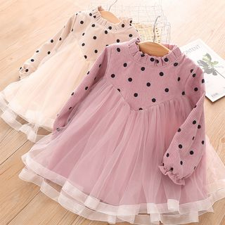 Seashells Kids - Kids Dotted Mesh Panel Long-Sleeve Shift Dress