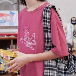 Nardoff - Plane Print Elbow-Sleeve T-Shirt