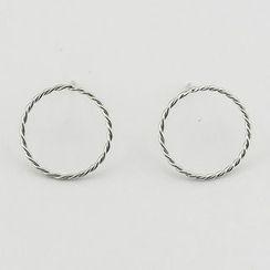 CHOSI - 925 Sterling Silver Circle Stud Earring