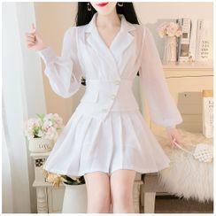 Petit Lace - Set: Plain Chiffon Blouse + Pleated Skirt