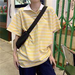 Muzly - 短袖條紋馬球衫