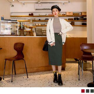 OrangeBear - Slit-Back Fitted Skirt