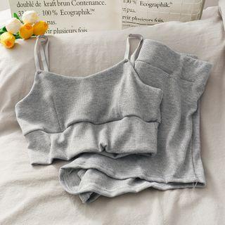 Lemongrass - Set: Cropped Camisole + Cotton Shorts