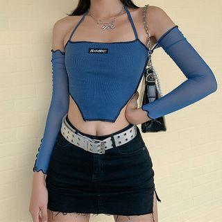 Kobeque - Halter-Neck Cold-Shoulder Lace-Up Cropped T-Shirt