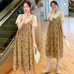 Mamaladies - Maternity Set: Short-Sleeve T-Shirt + Spaghetti Strap Floral Print Dress