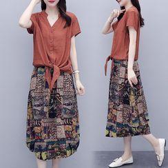 Onnell - 套裝: 短袖襯衫 + 印花A字中長裙