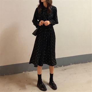 Shinsei - Long-Sleeve Dotted A-Line Midi / Mini Dress