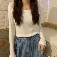 Moon City - Square-Neck Knit Top