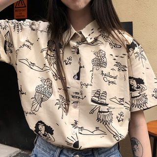 Juku Girls - Printed Short-Sleeve Shirt