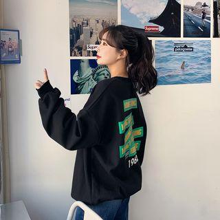 HOTPING - Letter-Back Oversize Sweatshirt