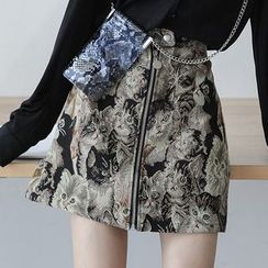 Guier - Cat-Embroidery Mini Skirt