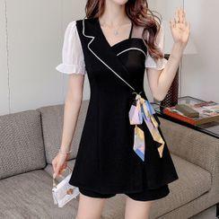 Termane - Set: Short-Sleeve Mini A-Line Dress + Shorts
