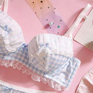 Prinsis - Set: Checked Lace Trim Push Up Bra + Panties
