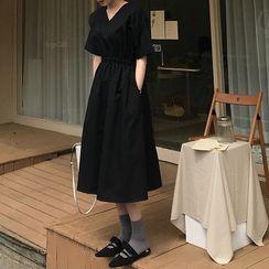 Omolon - Short-Sleeve A-Line Midi Dress