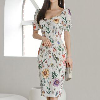 Themis - Puff-Sleeve Floral Midi Bodycon Dress