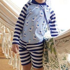 Aqua Wave - Kids Striped Short-Sleeve Rashguard  / Swim Shorts / Swim Goggles / Ear Plugs / Nose Clip / Drawstring Organizer Bag / Swim Cap / Set