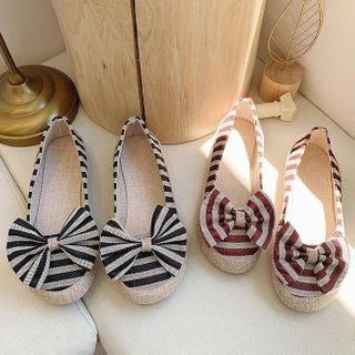 Belbie - Striped Panel Bow Flats