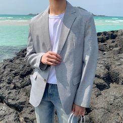 Seoul Homme - Single-Breasted Glen-Plaid Blazer