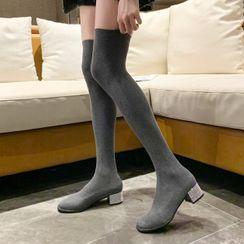 Weiya - Low-Heel Over-The-Knee Boots