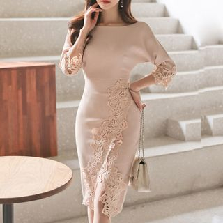 Yilda - Crochet Panel Sheath Dress