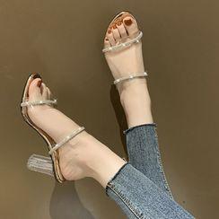 FiE FiE - Rhinestone Chunky-Heel Slide Sandals