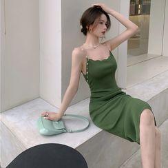 Guromo - Spaghetti Strap Midi Bodycon Dress