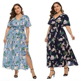Chelsie Chic - Plus Size Short-Sleeve Tie-Waist Printed A-Line Dress